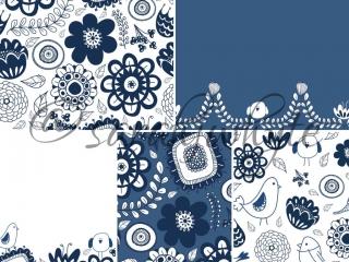 blue white flower leaf leaves bird vine doodle